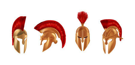 Realistic bronze metal helmets in different angles. Military headgear of ancient Greece with brushes at the top, Spartan helmets of soldiers of gladiators. Vector illustration isolated.