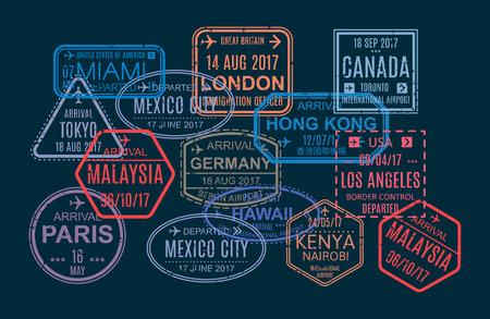 Ensemble de timbres colorés et d'impression, marques dans le passeport étranger pour les voyages aériens Modèle de sceau dans les pays visités du monde, filigranes, document de voyage international avec visas. Illustration vectorielle.