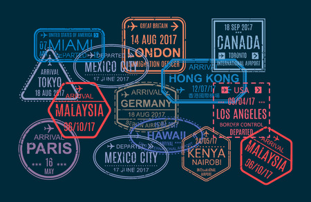 Zestaw kolorowych stempli i nadruku, znaki w paszporcie zagranicznym do podróży lotniczej. Wzór pieczęci w odwiedzanych krajach świata, znaki wodne, międzynarodowy dokument podróży z wizami. Ilustracji wektorowych.