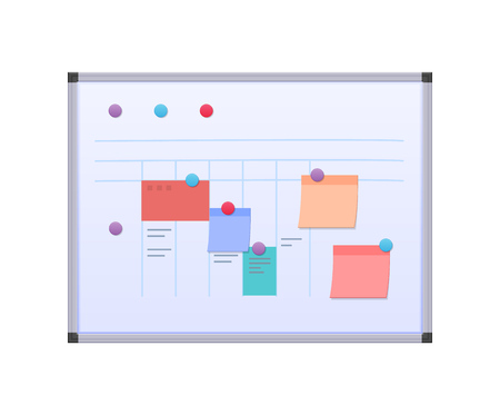 Modern metallic magnetic board with planned current affairs and tasks, paper stickers with goals, magnetic holders. Planning of tasks, complex teamwork, organization of workflow. Vector illustration. Illusztráció