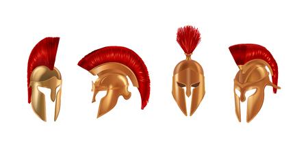 Realistic bronze metal helmets in different angles. Spartan helmets.