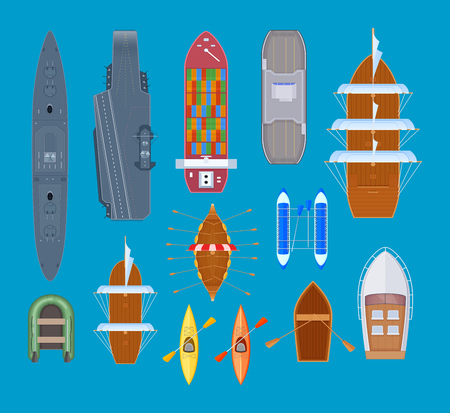 Set of water swimming vehicles. Pleasure boats and warships, sea ships, sport canoe, vessels, ferry. Boats for travel, navigation, fishing, tourism, life Vector illustration isolated Ilustração Vetorial