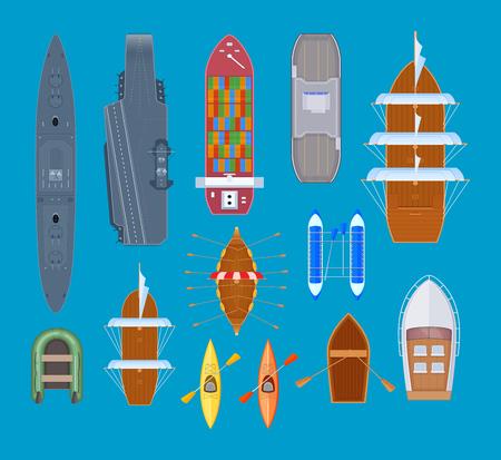 Set waterzwemmende voertuigen. Pleziervaartuigen en oorlogsschepen, zeeschepen, sportkano, vaartuigen, veerboot. Boten voor reizen, navigatie, vissen, toerisme, leven Vectorillustratie geïsoleerd Vector Illustratie