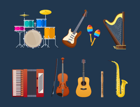 Set of modern musical instruments, genre of jazz and blues: percussion drums with plates, electric and acoustic guitars, maracas, string harp, accordion, violin, pipe and trumpet. Vector illustration.