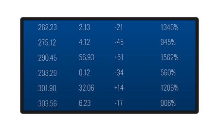 Affichage électronique avec statistiques monétaires, taux de change de la devise, panneau d'information avec devise pour l'achat ou la vente, indicateurs de croissance financière des devises étrangères. Illustration vectorielle. Vecteurs