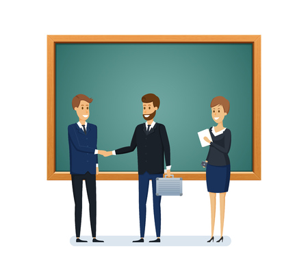 Colleagues from school next to blackboard. Distribution of duties, planning tasks, presentation, training for colleagues, teamwork, partnerships. Teaching, learning. Illustration in cartoon style.