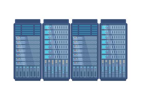 Server rack, network station, database hosting and storage, cloud storage, system administration. Information base, server installation. Vector illustration isolated.