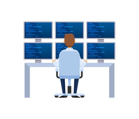 Rack de serveurs, station réseau, hébergement et stockage de bases de données, stockage en nuage. Base d'informations, installation de serveur, employé travaillant programmeur informatique pour ordinateurs et moniteurs. Illustration vectorielle.