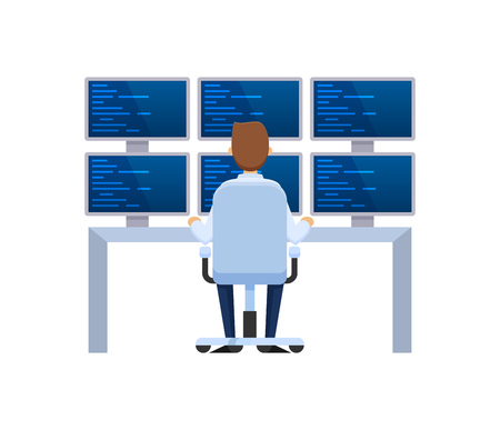 Server rack, network station, database hosting and storage, cloud storage. Information base, server installation, employee working it programmer for computers and monitors. Vector illustration.