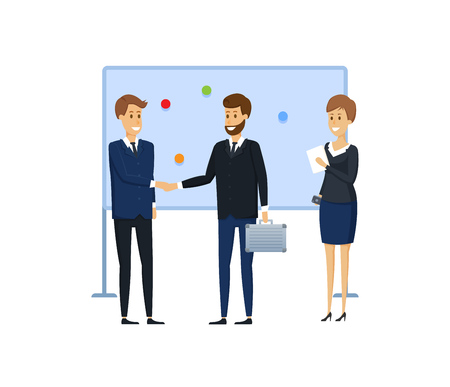 Colleagues from business next to magnetic board with magnets and stickers. Distribution of duties, planning tasks, list of goals, presentation, training for colleagues. Illustration in cartoon style.