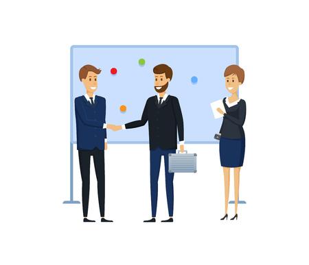 Kollegen aus der Wirtschaft neben Magnettafel mit Magneten und Aufklebern. Aufgabenverteilung, Planungsaufgaben, Zielliste, Präsentation, Schulung für Kollegen. Abbildung im Cartoon-Stil.