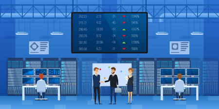 People at office of financial monitoring of stock market interior. Control center, monitoring financial market. Information display with indicators, exchange rates of currencies. Vector illustration. Иллюстрация