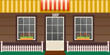 Exterior of cafe showcase, store building, facade of boutique building.