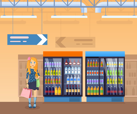Girl with shopping bags in hands, on background of store interior, supermarket shelves, refrigerator with drinks. Shelves with juice, water, alcoholic beverages, interior of room. Vector illustration.