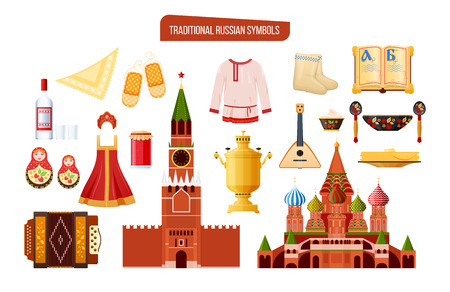 Russian traditional symbols, culture, landmarks. Travel to Russia, familiarity with objects countrys culture. Clothes, food, drinks, architectural buildings, musical instruments vector illustration