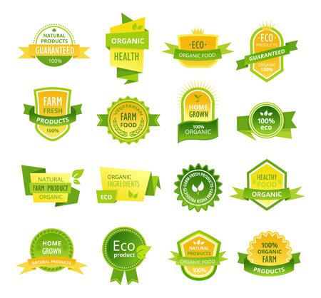 Conjunto de etiquetas de colores, pegatinas, sellos, insignias, alimentos orgánicos saludables.