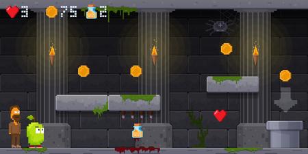 Interface 8 bit game, pixel art platformer, jumping over obstacles. Stock Photo