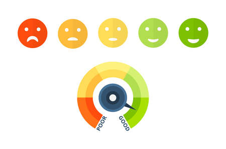 Colorful indicators of credit score, approval of solvency and creditworthiness, with colored smiley from sad to happy. Colorful scale of financial welfare with divisions. Vector illustration. Vettoriali