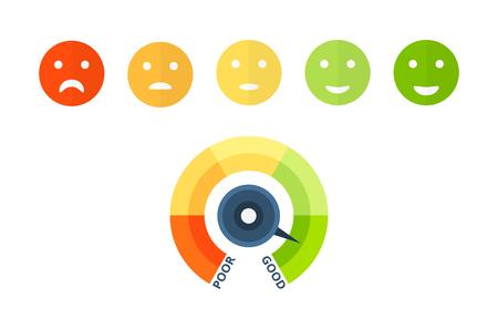Indicateurs colorés de pointage de crédit, approbation de solvabilité et de solvabilité, avec smiley coloré de triste à heureux. Échelle colorée du bien-être financier avec divisions. Illustration vectorielle. Vecteurs