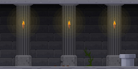 Interface 8 bit game, pixel art platformer, mobile and desktop version. Appearance of level in dark dungeon, with brick walls, torches. Video game, interface fantasy RPG games. Vector illustration. Иллюстрация