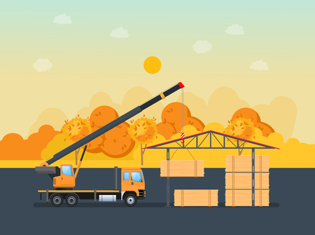Cargo working machine, car with crane, unloads the wooden logs into warehouse with canopy. Autumn road, transportation of lumber on machine for further processing at factory. Vector illustration.