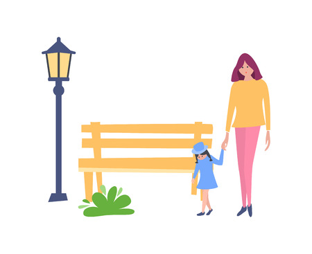 Young mother with little kid daughter, holding hands, walking along the road in recreation park, against the backdrop of the surrounding landscape, trees, lanterns. Vector illustration in flat style.