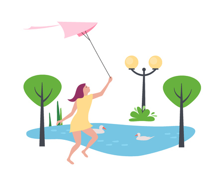 Young girl holds of air kite in hands, walks in recreation park and amusements, against backdrop of bustling landscape, trees, lanterns and pond with white swans. Vector illustration in flat style.