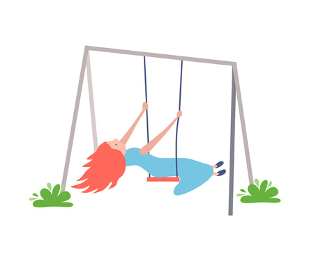 Young girl is riding on swing, playing and walking in children's recreation and entertainment park, against a backdrop of surrounding landscape, trees. Vector illustration in flat style.
