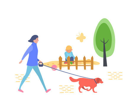 Young girl is walking in children's recreation and entertainment park with dog, against a backdrop of landscape, trees, sandbox in which little boy plays. Vector illustration in flat style.