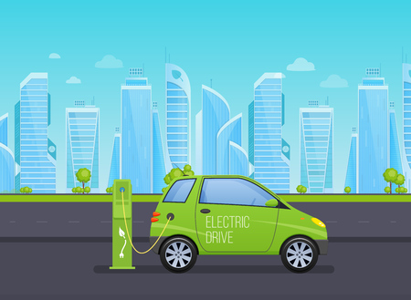 Single-seat electric car, near electric station, on background high-rise skyscrapers. Illustration