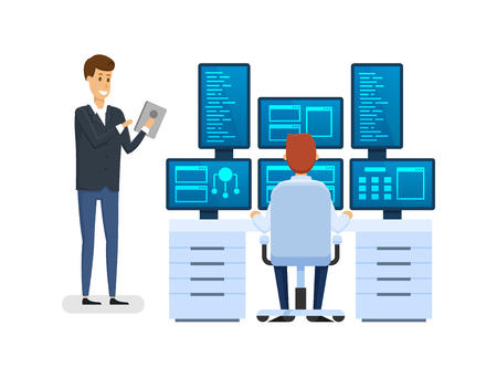 Server room, equipping network administrator workplace, monitoring database, working with financial institution software, employee discussing question with colleague man at work. Vector illustration.