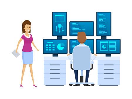 Salle des serveurs, équipement du lieu de travail de l'administrateur, surveillance de la base de données, utilisation d'un logiciel d'institution financière, employé discutant d'une question avec une collègue au travail. Illustration vectorielle. Vecteurs