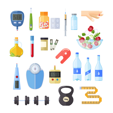 Diabetes, treatment, maintenance of health, devices glucometer for measuring blood sugar, sports equipment: dumbbells, proper nutrition, medical treatment of tablet from diabetes. Vector illustration.