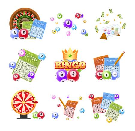 Juego de billetes de lotería, bingo, lotería, ruleta, bolas con números.