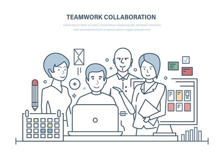 Collaborazione di lavoro di squadra. Pianificazione efficace, membri del team che discutono di progetti di business, colleghi, cooperazione, partnership, discussione di problemi e problemi comuni. Disegno di linea sottile dell'illustrazione. Vettoriali