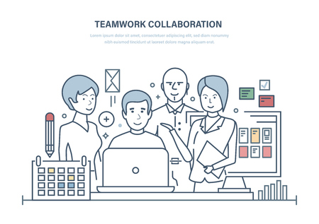 Teamwork collaboration. Effective planning, team members discussing business project, colleagues, cooperation, partnerships, discussion of issues and common issues. Illustration thin line design. Ilustração
