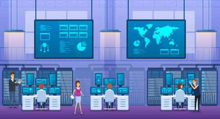 Oficina interior de ingenieros de tecnología de la información. Centro de base de datos de control.