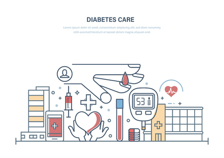 Diabetes care. Diabetes test, treatment, medical research, healthcare, prevention. Control of blood sugar level, medicamentous and insulin treatment. Illustration thin line design.