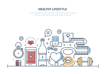Healthy lifestyle, healthcare, medical facility, ambulance. Proper sport lifestyle, healthy eating, maintaining form. Physical exercises, professional training programs. Illustration thin line design Иллюстрация
