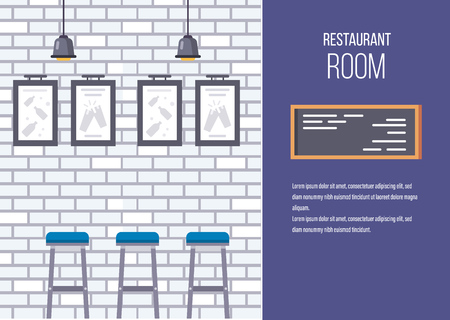 Interior of building of restaurant, cafe. Brick wall with artificial lamp lighting, paintings, chairs for visitors. Vector illustration, for advertising banner poster, invitation to cafe restaurant.