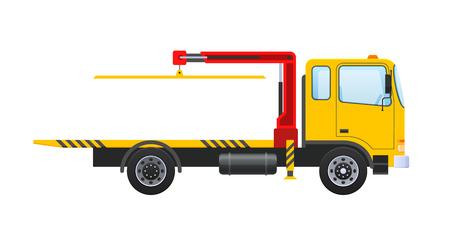 Dépanneuse avec manipulateur hydraulique équipé, grue de levage. Voiture pour le transport des machines en service, parking, en cas d'accident, casse, accident de la route. Illustration vectorielle.
