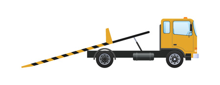 Tow truck with platform, vehicle lifting with ramps, fastening belts. Car for transportation of machines in service, on parking, in case accident, breakage, road traffic accident. Vector illustration.