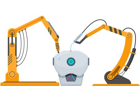 Robot di apparecchiature industriali complesse, apparecchiature robotiche, per l'assemblaggio di robot umani.