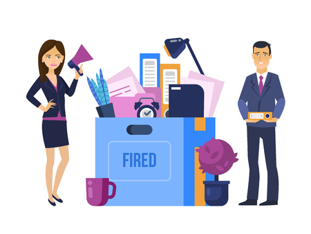 Fired, dismissal from work. Head manager, woman dismisses office worker. Illustration