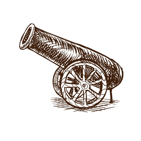 Vintage ancient arm cannon with cannonballs, war weapon. Ilustração