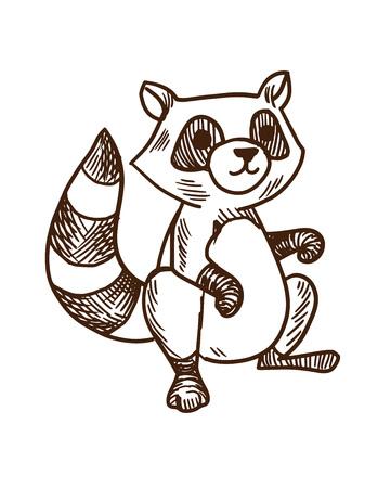 Concepto de animales de dibujos animados lindo. Mapache rayado dibujado a mano. Ilustración de vector