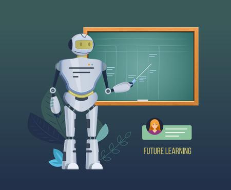 Aprendizaje futuro. Robot mecánico electrónico cerca de la pizarra de la escuela, el robot explica los materiales de aprendizaje, imparte conferencias, seminarios. Trabajo de sistema de inteligencia artificial. Ilustración vectorial.