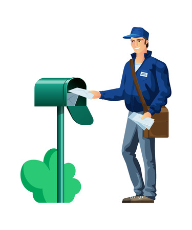Postal employee, character, courier postman in company clothes, with bag on shoulder and letters in hands, drops letters to mailbox. Mail, courier service of delivery. Illustration in cartoon style.