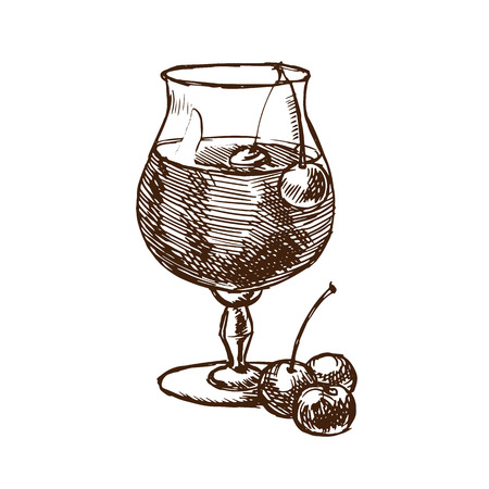 Cherry liqueur in a glass fouger and with fresh cherries.