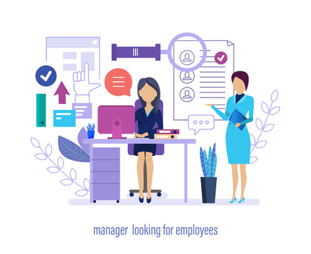 Manager looking for employees. Staff recruitment, resume search and selection of profiles, work in social networks, online interviews with candidates and potential employees. Vector illustration. Vector Illustratie